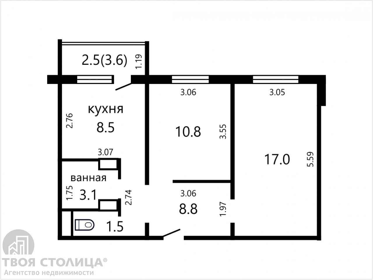 Продажа 2-комнатной квартиры в Минске, ул. Академика Карского, д. 21 - фото 2